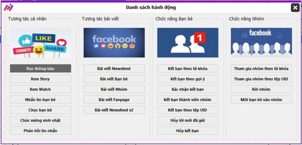 Giao diện một loại Tool scan facebook.